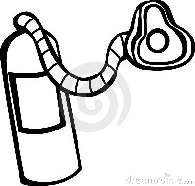 Oxygen tank and mask vector illustration