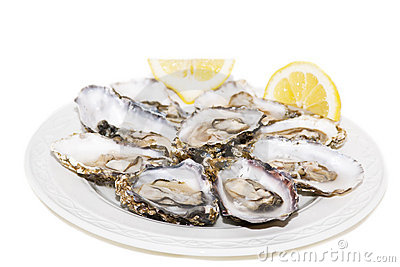 Oysters and lemon on white background
