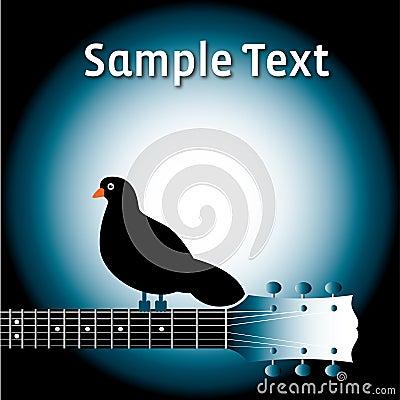 Pájaro en cuello de la guitarra con el texto