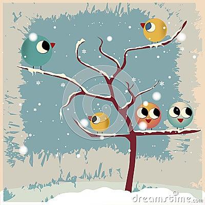 Pájaros y un árbol desnudo