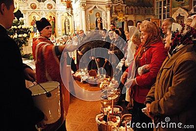 Pâques. Bénédiction de l eau sainte. Image stock éditorial