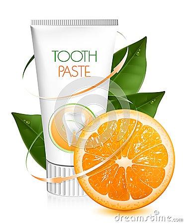 Pâte dentifrice orange de saveur.