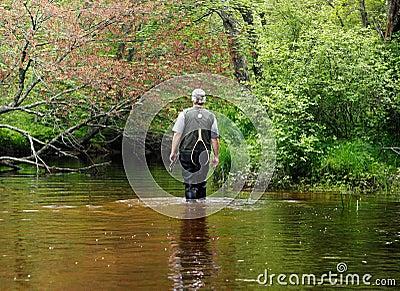 Pêcheur Downstreams de marche