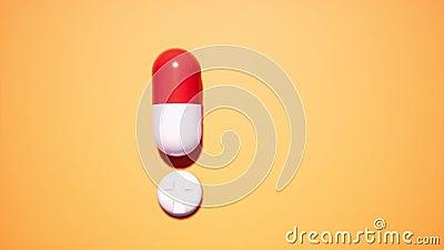 Pílula de exclamação sobre fundo laranja Conceito de ponto de exclamação Conceito médico Comprimidos brancos Aviso video estoque