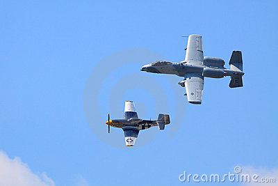 P-51 and A-10 Editorial Image