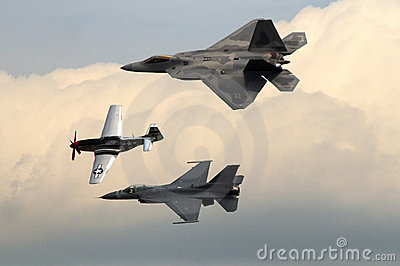 P-51 Mustang, F-16 Falcon and F-22 Raptor Editorial Photography