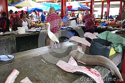 På fisken marknadsföra i Victoria, Seychellerna Redaktionell Bild
