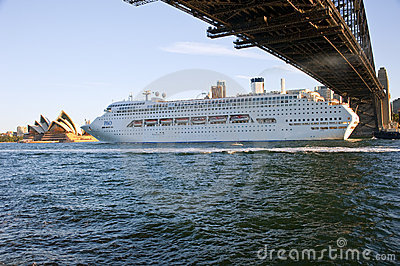 Sydney Harbour bridge Opera house cruise ship Editorial Photo