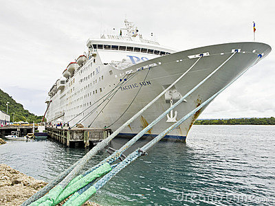 P&O Pacific Sun cruise ship in Port Vila Editorial Photo