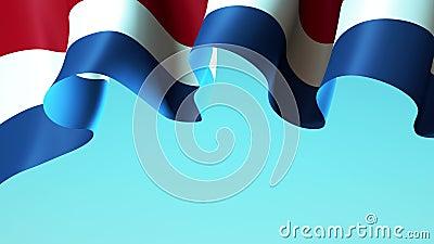 Países Bajos ondeando bandera en el cielo azul para el diseño de pancartas Fondo animado de la bandera ondulada de Holanda Diseño libre illustration