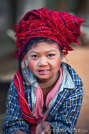 Pa-O tribe girl, Burma Editorial Photography