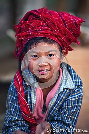 Pa-O tribe girl, Burma Editorial Photography