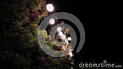 Paar dat bij steeg in nachtlichten loopt Foto in uitstekende veelkleurige stijl stock footage