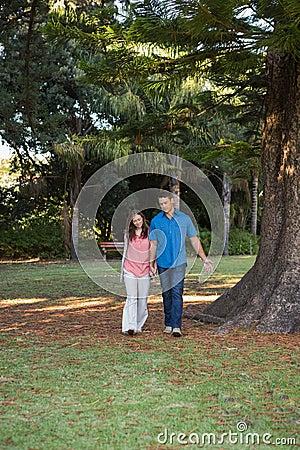 Paar die hand in hand lopen