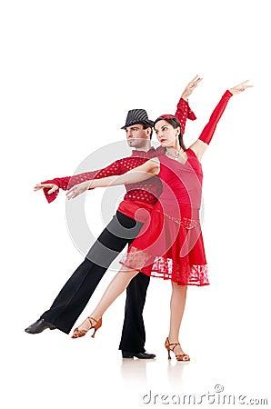 Paar geïsoleerdeg dansers