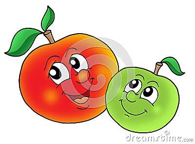 Paare der lächelnden äpfel lizenzfreie stockfotos