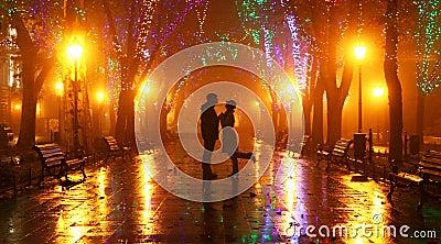 Paare, die an der Gasse in den Nachtleuchten gehen