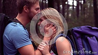 Paare, die durch einen Wald wandern stock footage