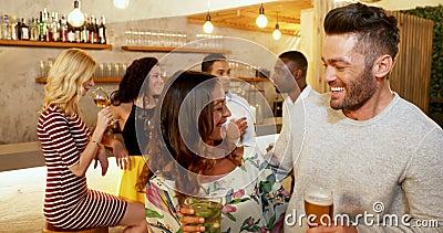 Paare, die Getränkgläser während Freunde plaudern im Hintergrund 4K 4k rösten stock video footage