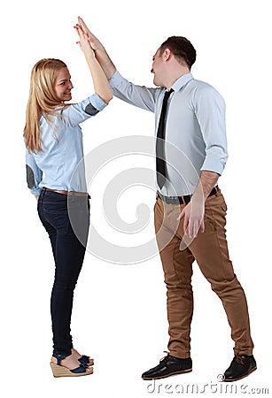 Paare, die ihren Erfolg feiern