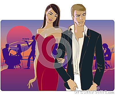 Paare, die nach Hause von der Party gehen