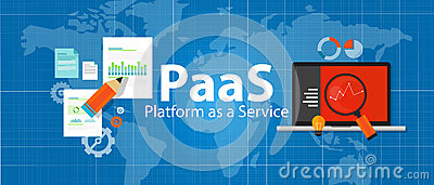 PaaS platform as a service cloud solution technology concept laptop server Vector Illustration