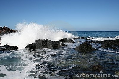 Pacific Ocean Wave on Molokai Hawaii Coast