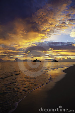 Pacific sunrise at lanikai beach
