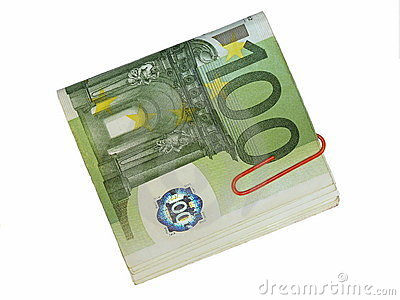 Pack 100 euro bills and paper clip isolate