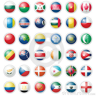 Pack of almost 40 icon flags over white