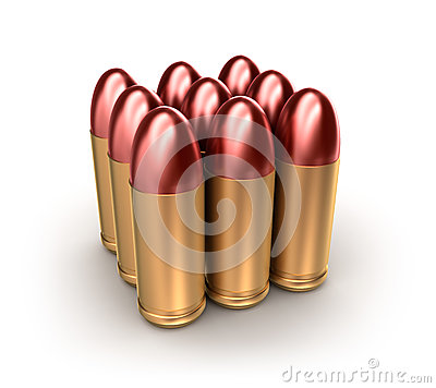 Pack of ammo catridges with bullets over white.