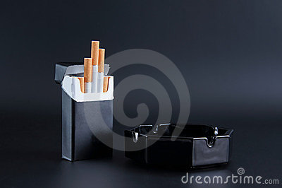 Pack of cigarettes and ashtray