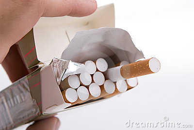 Pack of cigarettes in a hand