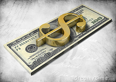 Pack of dollars and golden 3d dollar sign