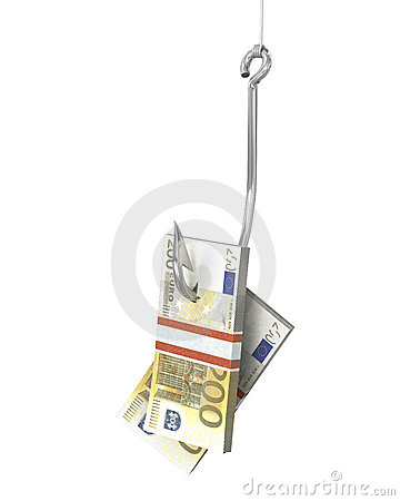 Pack of euro on a fishing hook