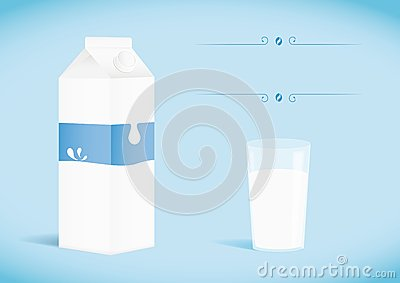 Pack of milk with glass