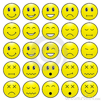 Free Pack Of Emoticons With Various Emotions Expression Royalty Free Stock Photography - 20477937