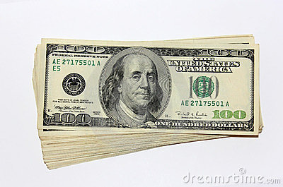 Pack of one hundred dollar notes
