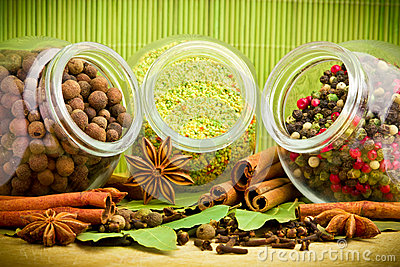 Pack of several spices and herbs