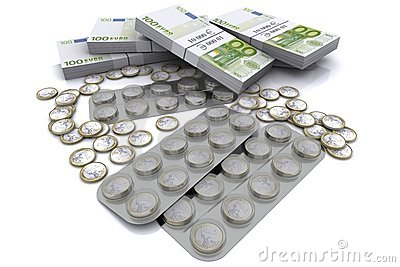 Pack of tablets with the coins in euro