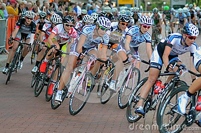 Pack of Women Bicycle Criterium Racers Editorial Stock Image