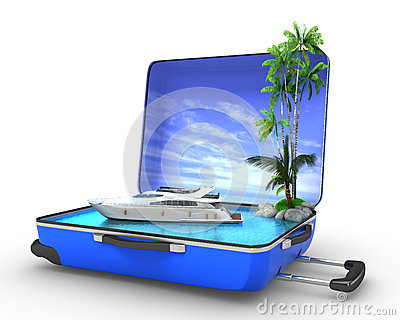 Package beach vacation concept yaht