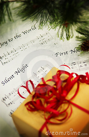 Package with Christmas sheet music