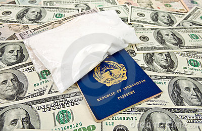 Package with a drug and U.S. dollar