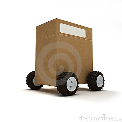 Free Package On Wheels Stock Image - 3213621