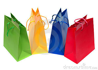Packages for shopping isolated