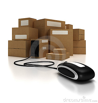 Free Packages With Mouse (lateral) Royalty Free Stock Image - 3222046