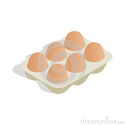 Free Packaging For Eggs Icon, Isometric 3d Style Stock Image - 81462521