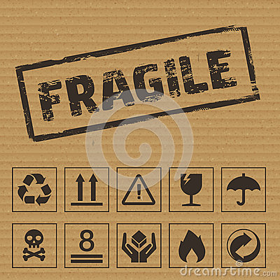 Free Packaging Symbols On Cardboard. Vector Icons Royalty Free Stock Images - 62280709