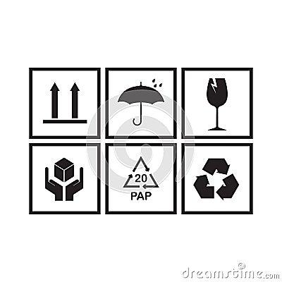 Free Packaging Symbols Set Royalty Free Stock Photo - 114061555